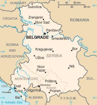 Карта Сербии и Черногории